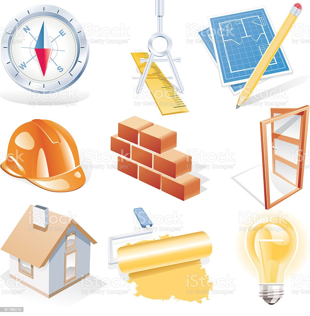 Architecture detailed icon set royalty-free stock vector art