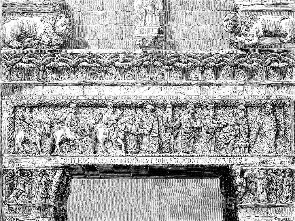 Architrave in Pistoia's church vector art illustration