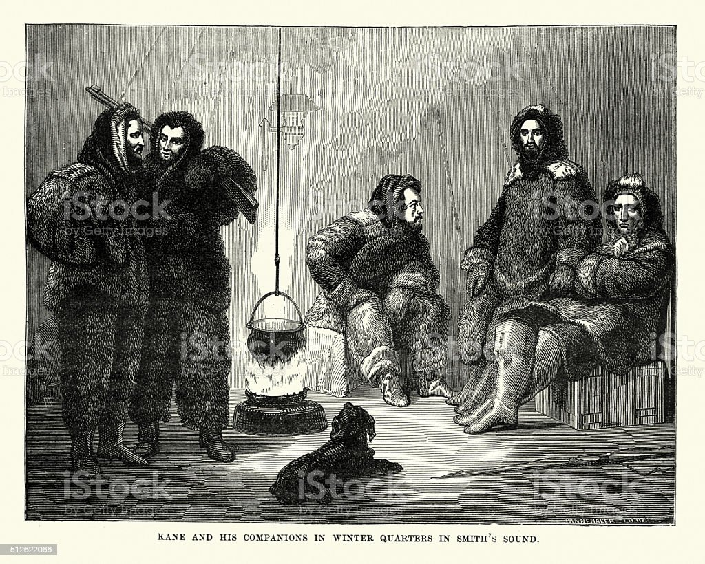 Arctic expedition - Second Grinnell Expedition vector art illustration