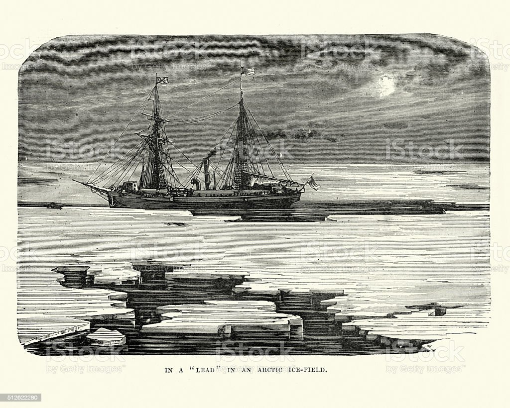 Arctic expedition - Ship in a Lead of an Ice-field vector art illustration