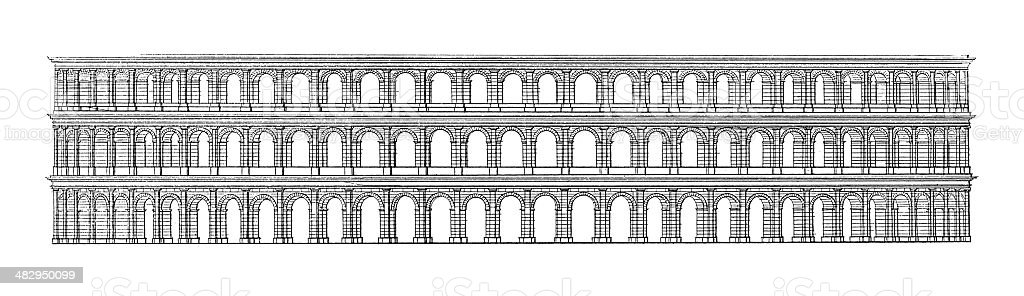 Arena di Verona, Italy | Antique Architectural Illustrations royalty-free stock vector art