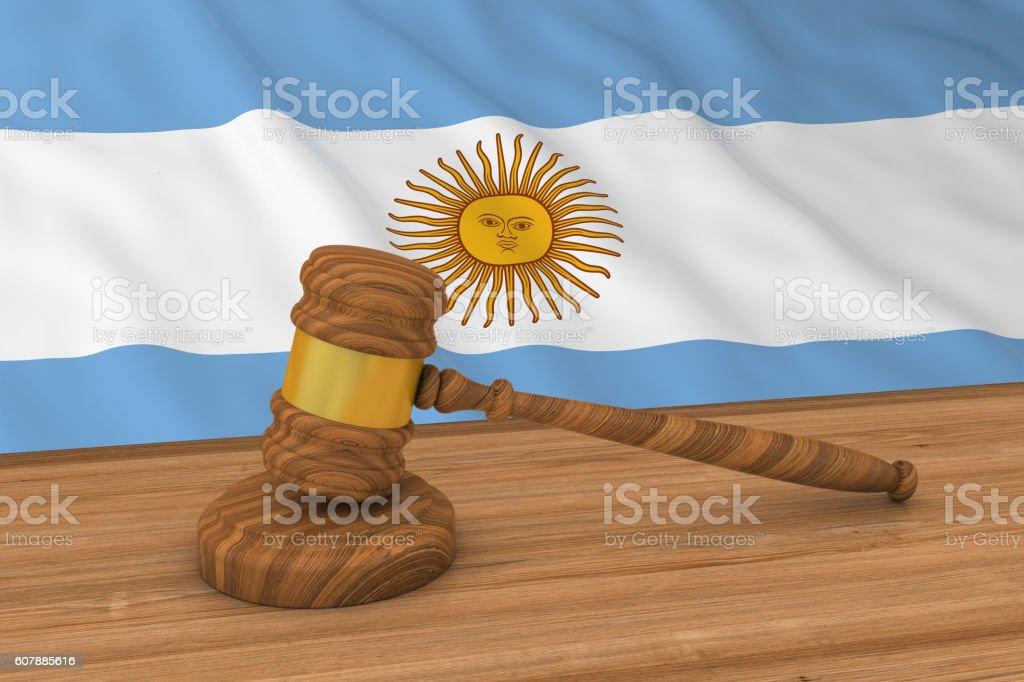 Argentinian Law Concept - Flag of Argentina Behind Judge's Gavel vector art illustration
