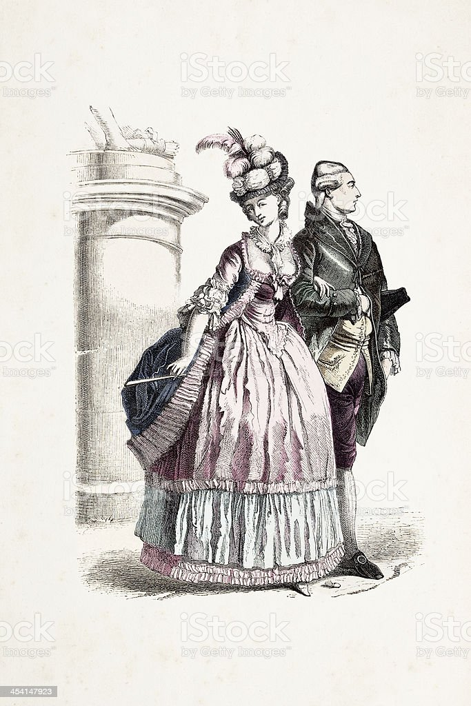 Aristocratic couple in traditional clothing 1780 royalty-free stock vector art