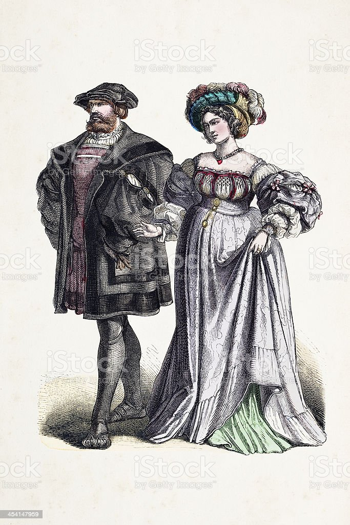 Aristocratic german couple in traditional clothing 16th century royalty-free stock vector art