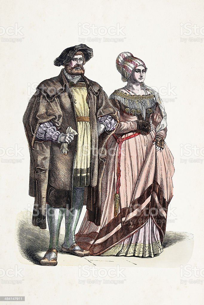Aristocratic german couple in traditional clothing from 16th century royalty-free stock vector art