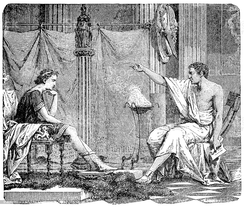 Aristotle And Alexander vector art illustration