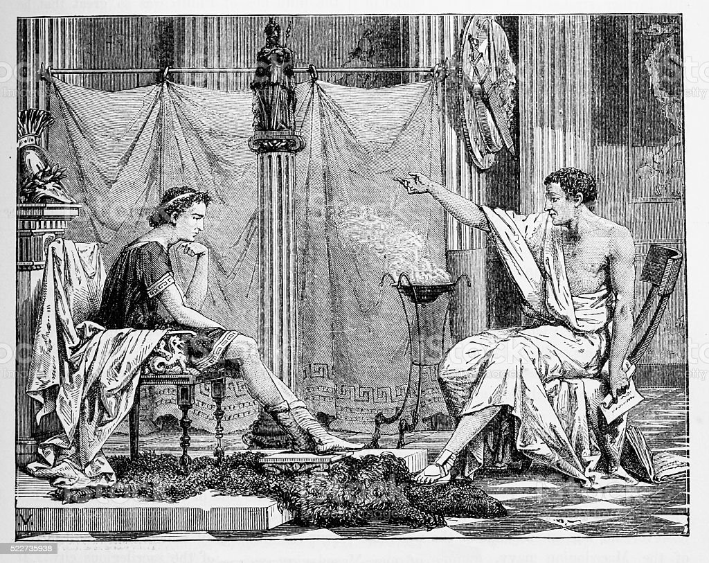 Aristotle and His Pupil, Alexander vector art illustration