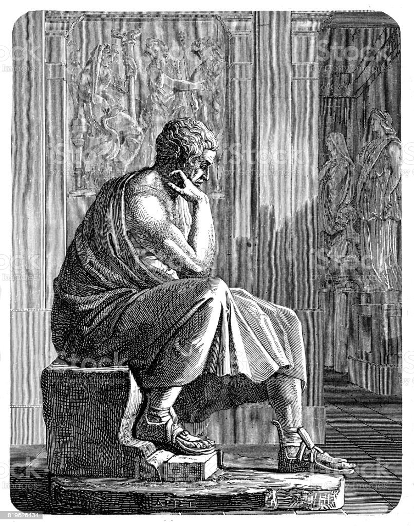 Aristotle (384 BC - 322 BC), Greek philosopher vector art illustration