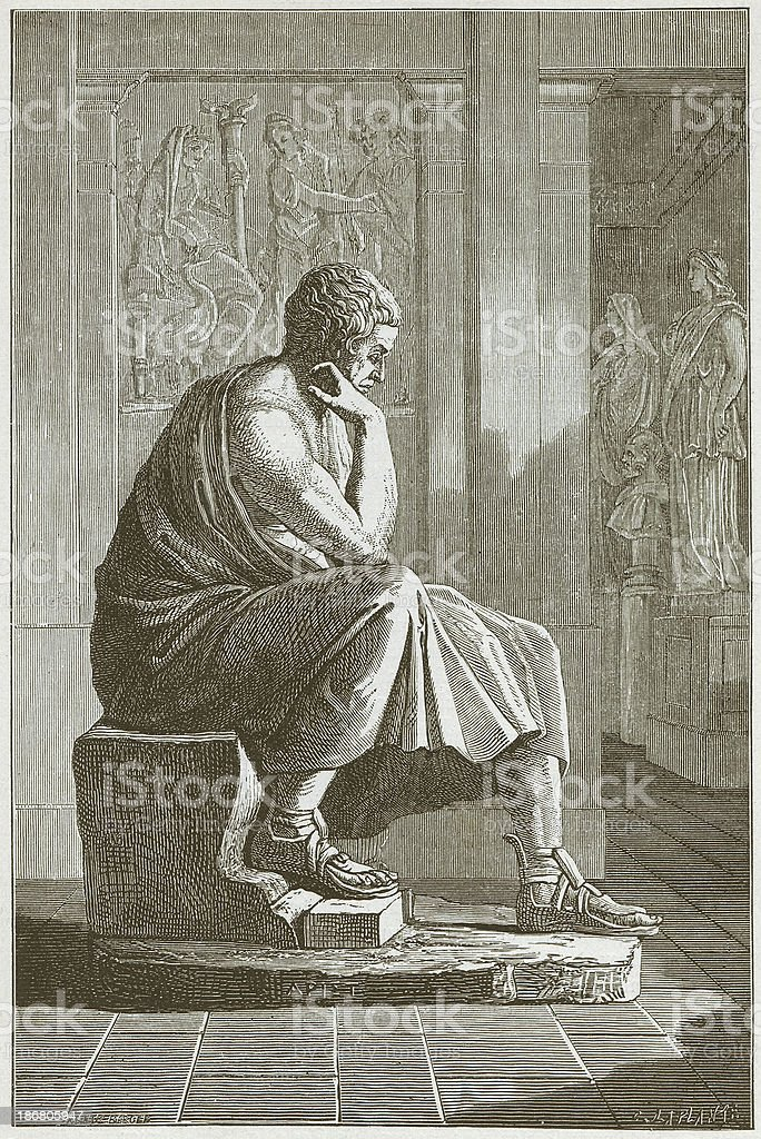 Aristotle (384 BC - 322 BC), Greek philosopher, published in 1882 royalty-free stock vector art