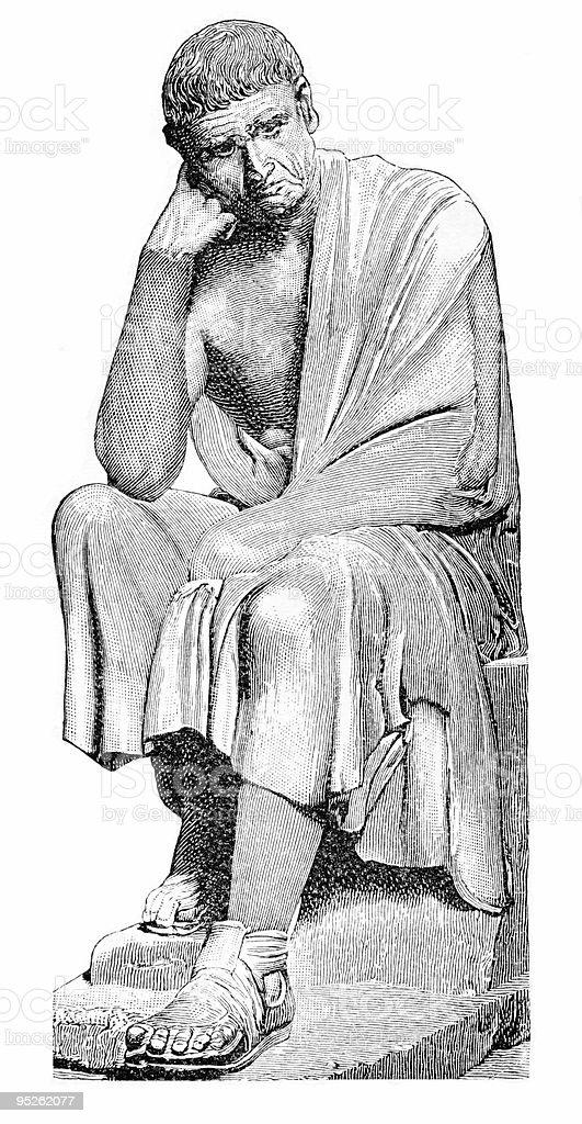 Aristotle Seated royalty-free stock vector art