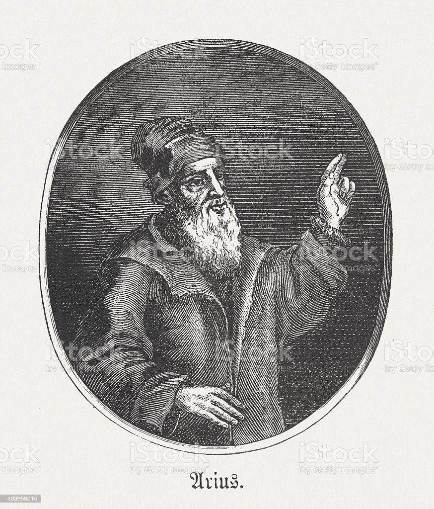 Arius (c.260-336), Christian presbyter from Alexandria, wood engraving, published 1881 royalty-free stock vector art