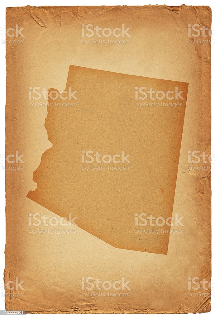 Arizona state map on old paper Background royalty-free stock vector art