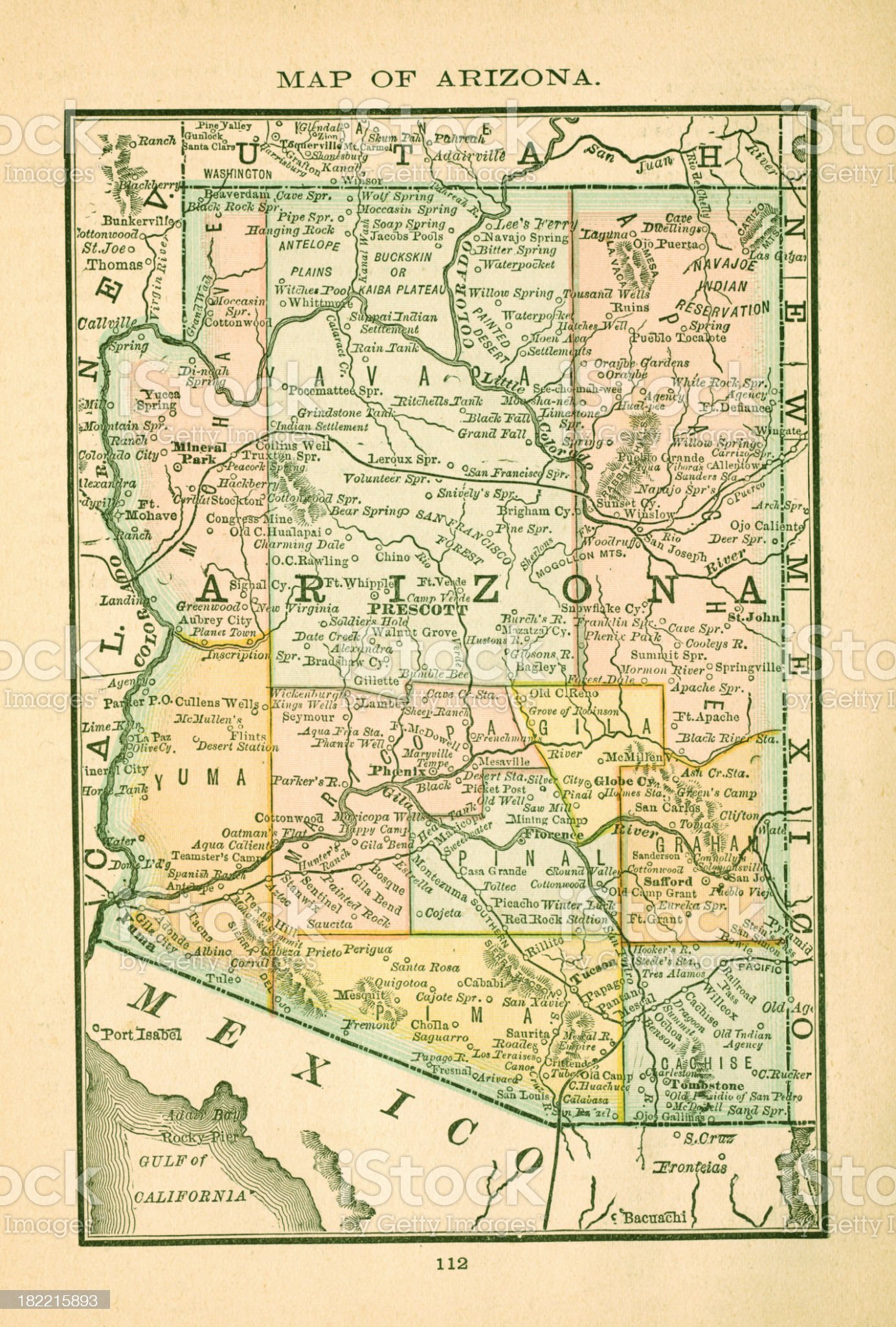 Arizona | USA Antique Maps High Resolution royalty-free stock vector art