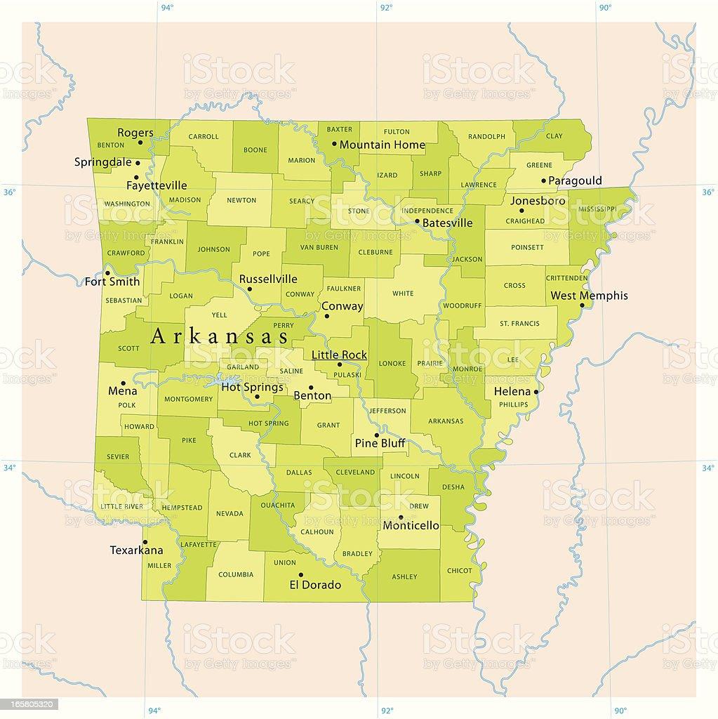 Arkansas Vector Map vector art illustration