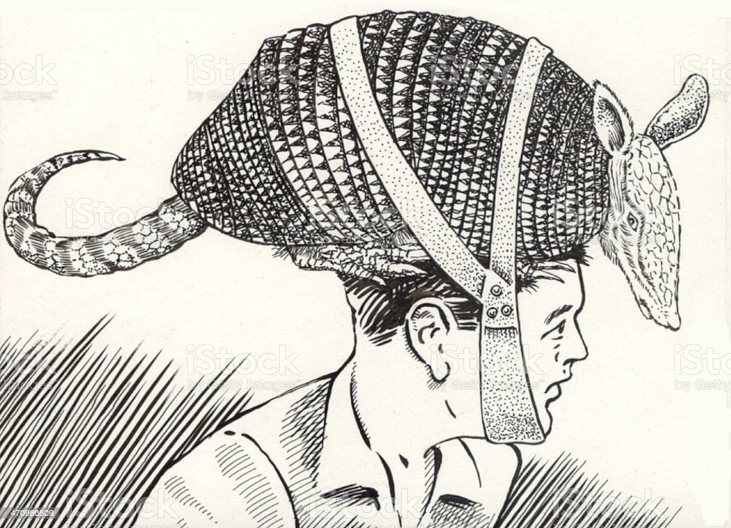 armadillo hat vector art illustration