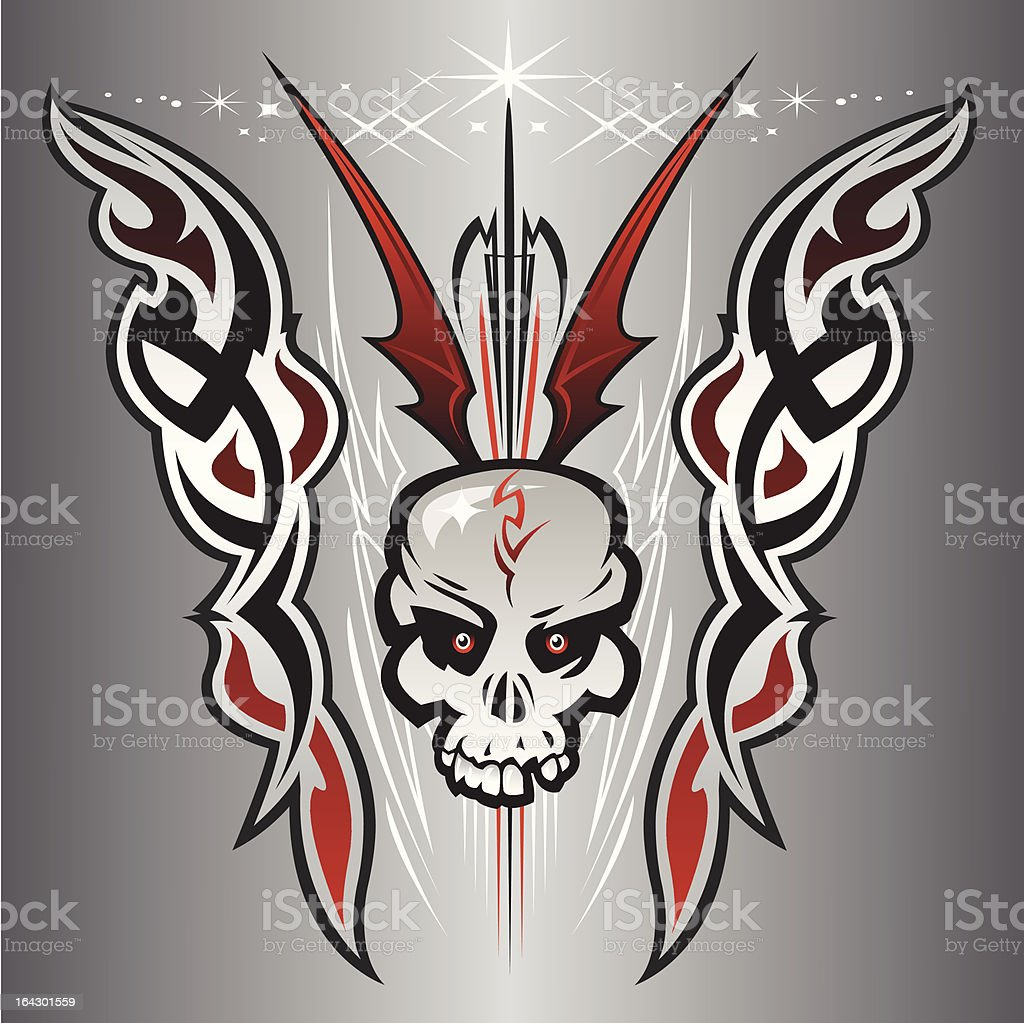 Armageddon Skull vector art illustration