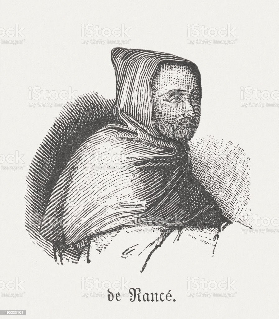 Armand Jean le Bouthillier de Rancé (1626-1700), french monk royalty-free stock vector art