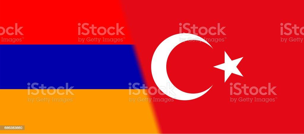 Armenia and Turkey flag together vector art illustration