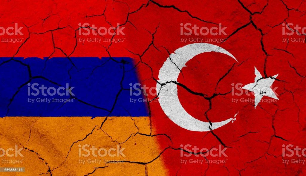 Armenia and Turkey flag, with dried soil texture vector art illustration