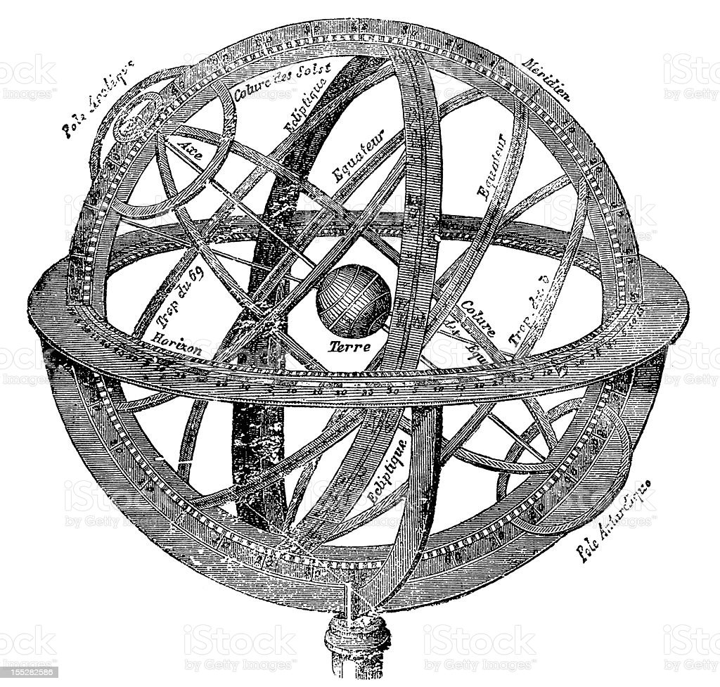 Armillary Sphere or Spherical Astrolabe vector art illustration
