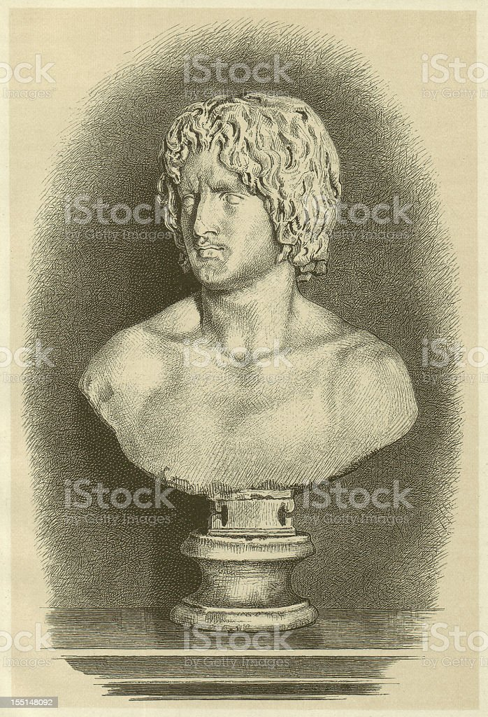 Arminius (18 BC/17 BC-21 AD), ancient bust, published in 1880 royalty-free stock vector art