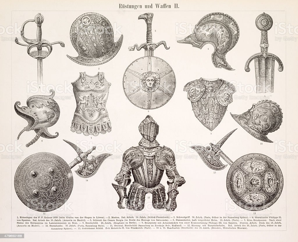 Armor and weapons engraving 1896 vector art illustration