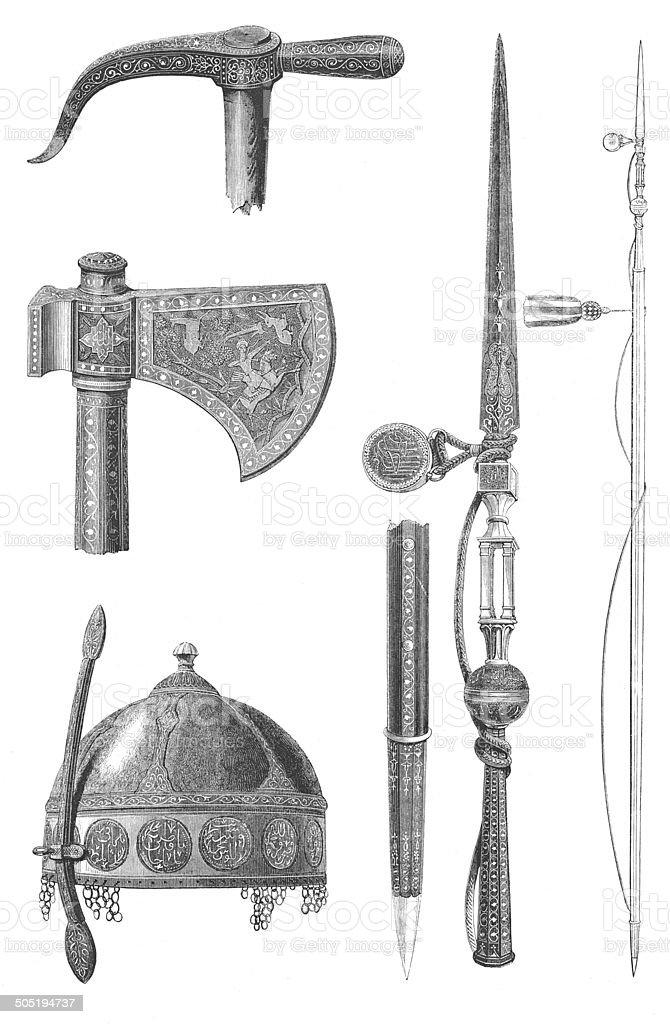 Armor of Touman Bey, the last mamluk-sultan (engraving) royalty-free stock vector art