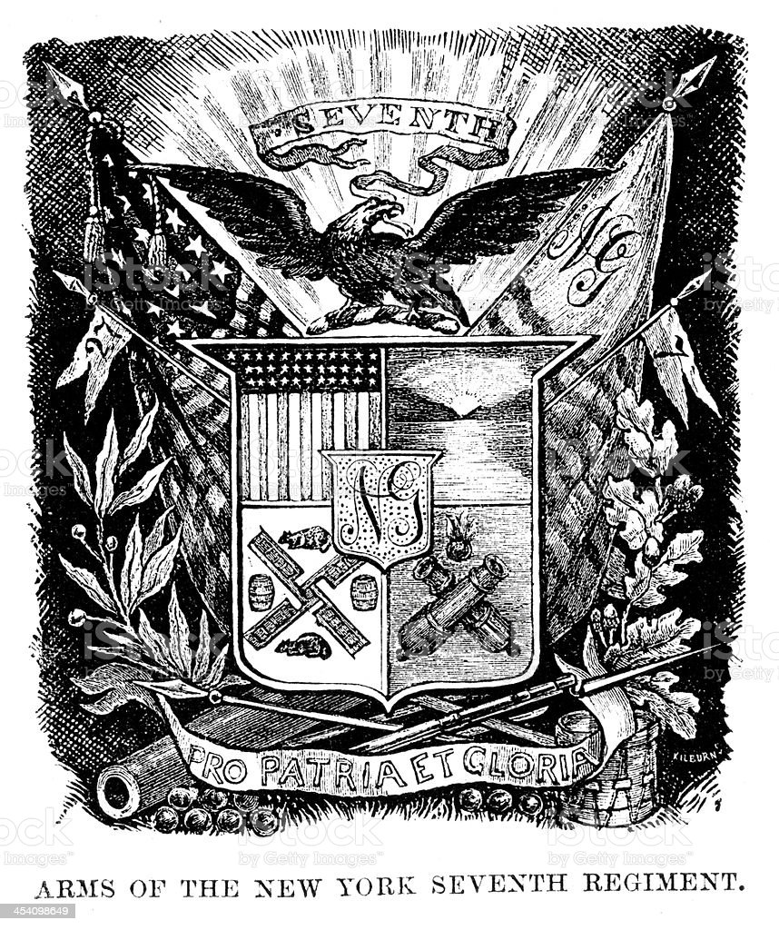 Arms of the New York Seveth Regiment vector art illustration