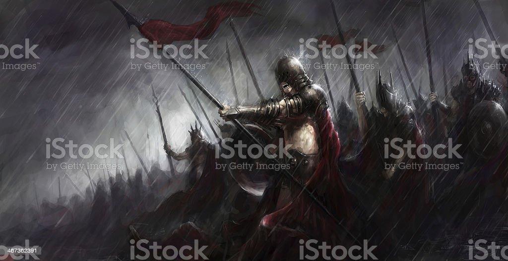army in war vector art illustration