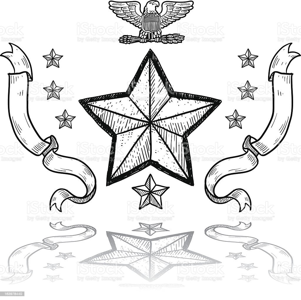 US Army military insignia vector art illustration