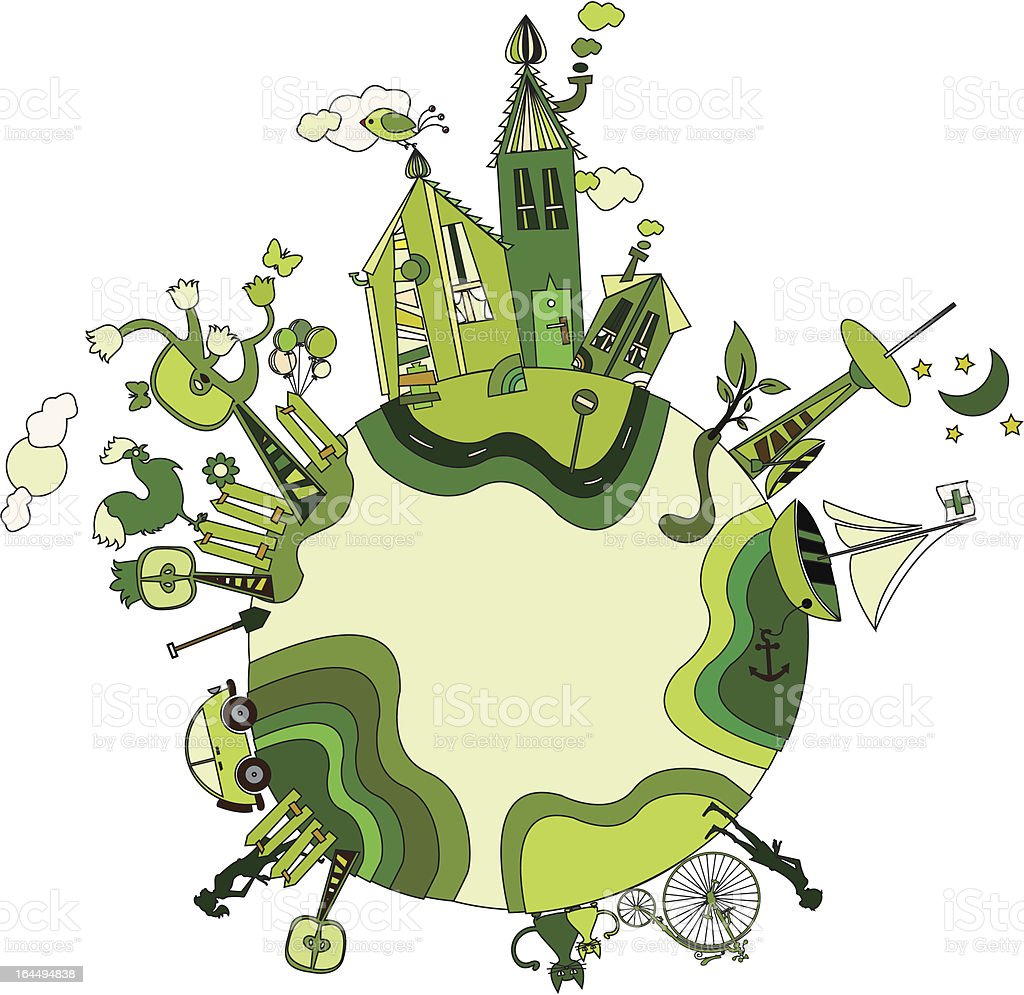 around the green bio world vector art illustration
