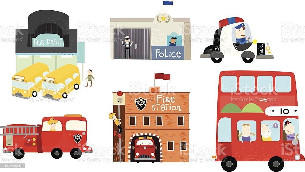 around the town- cars! vector art illustration