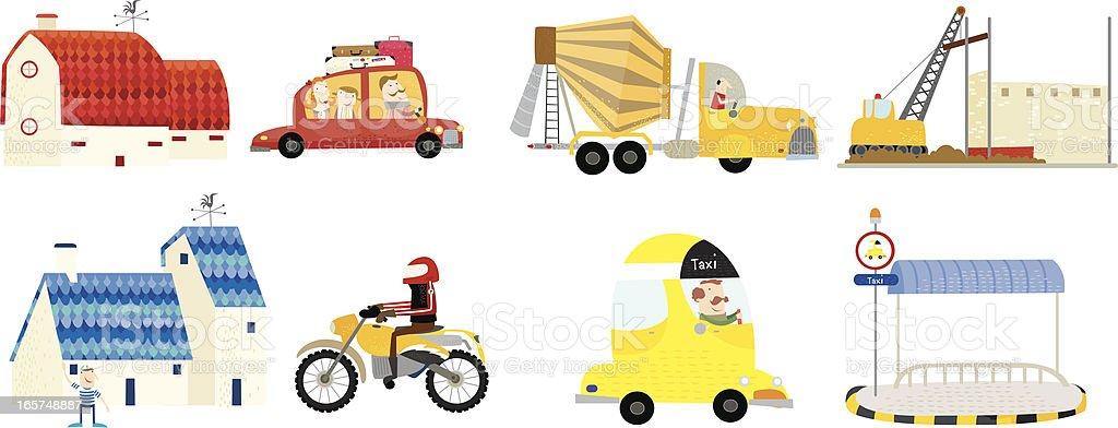 around the town- vehicles! vector art illustration