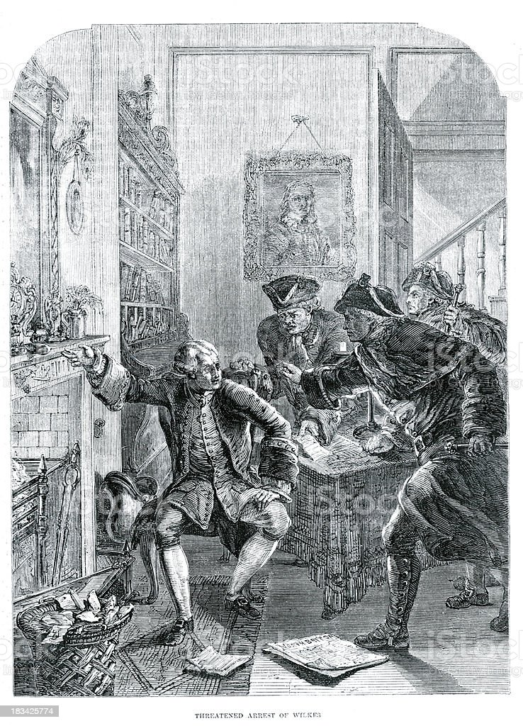 Arrest of John Wilkes vector art illustration