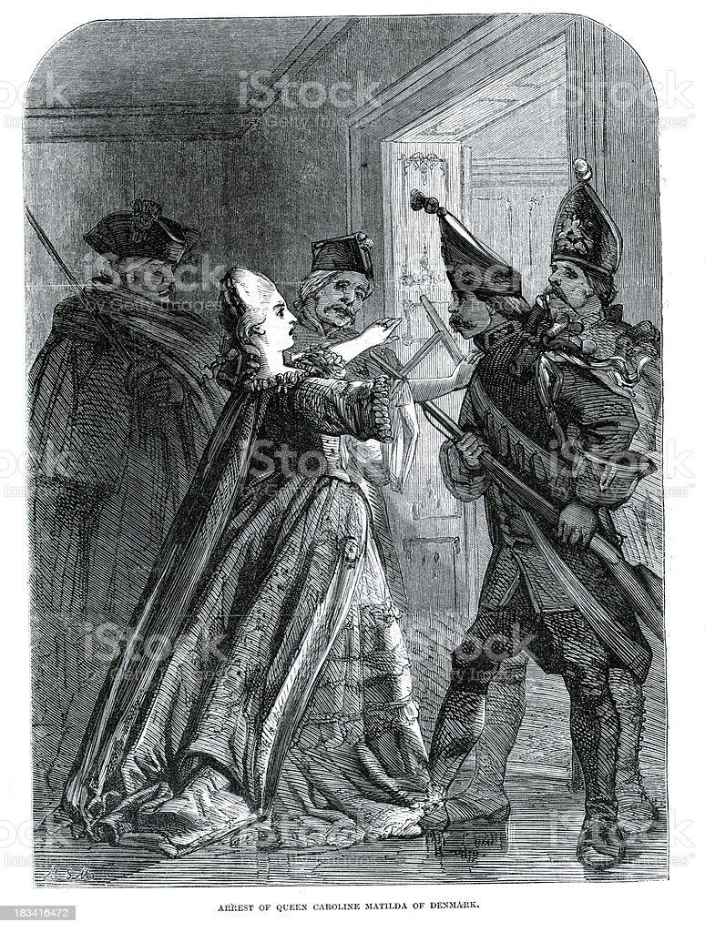 Arrest of Queen Caroline Matilda royalty-free stock vector art