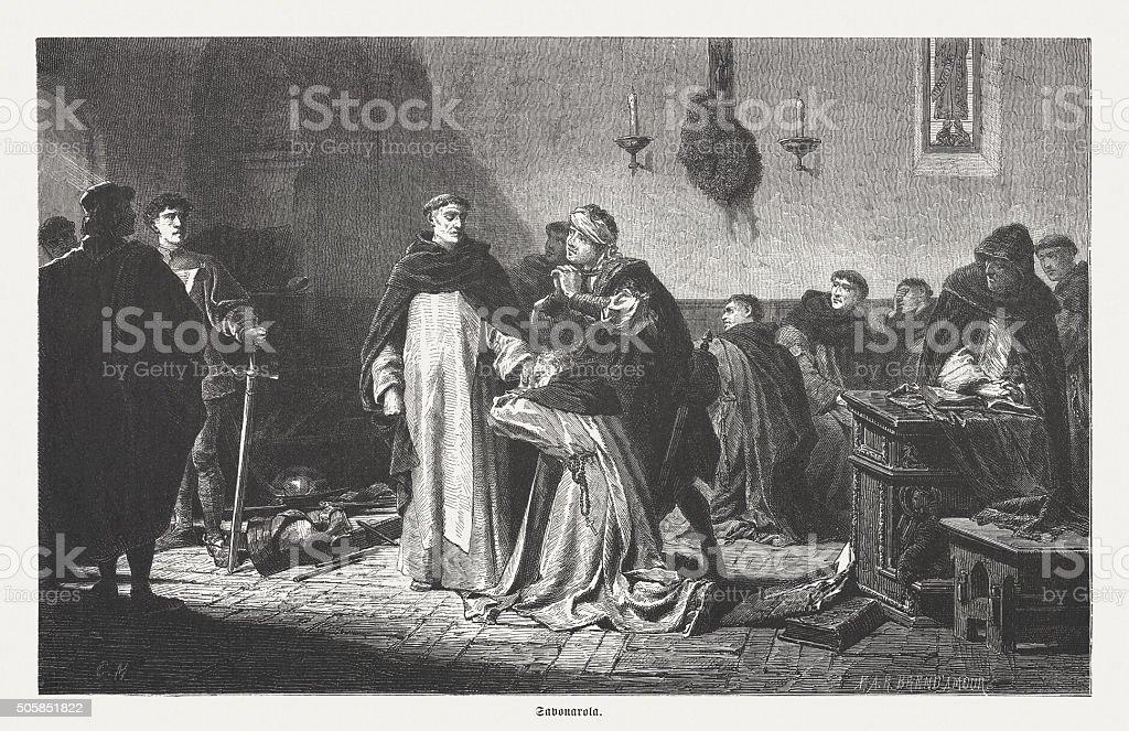 Arrest of Savonarola, wood engraving, published in 1873 vector art illustration