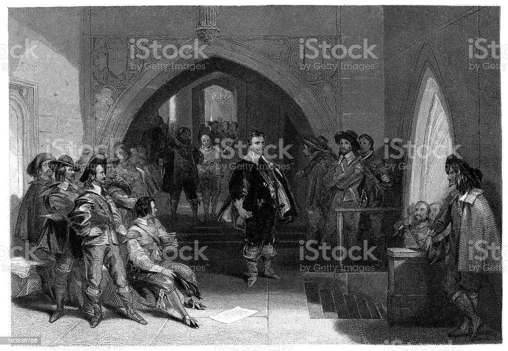 Arresting the Earl of Strafford royalty-free stock vector art