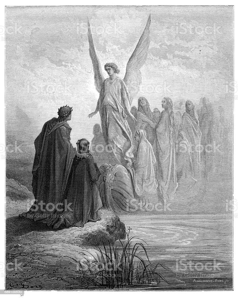 Arrival of souls purgatory engraving 1870 vector art illustration