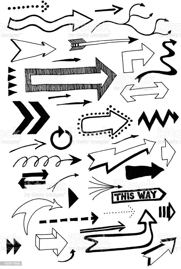 arrow doodles vector art illustration