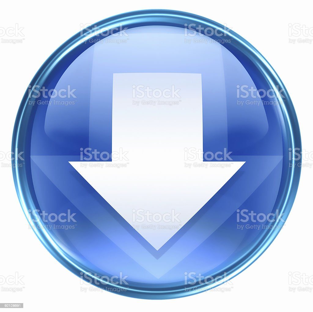 Arrow down icon blue, isolated on white background. royalty-free stock vector art