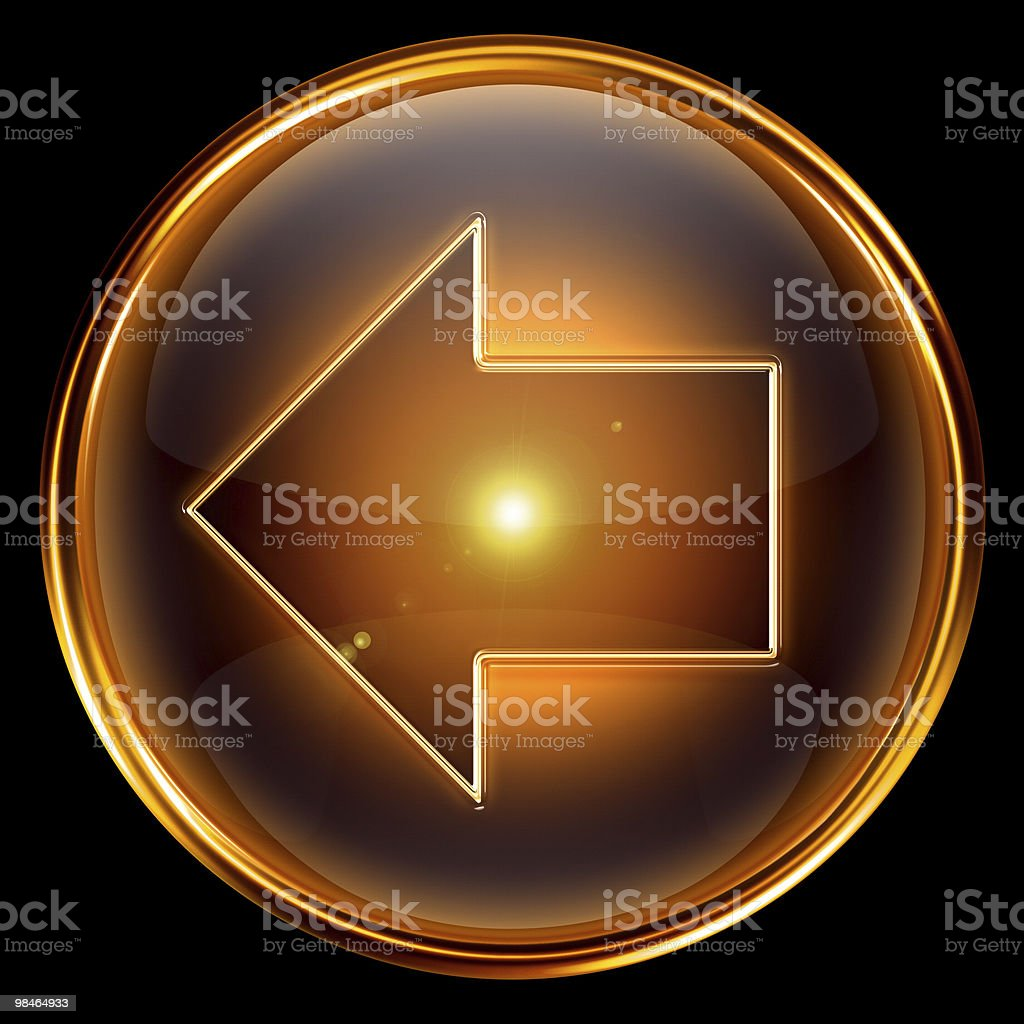 Arrow left icon golden, isolated on black background royalty-free stock vector art