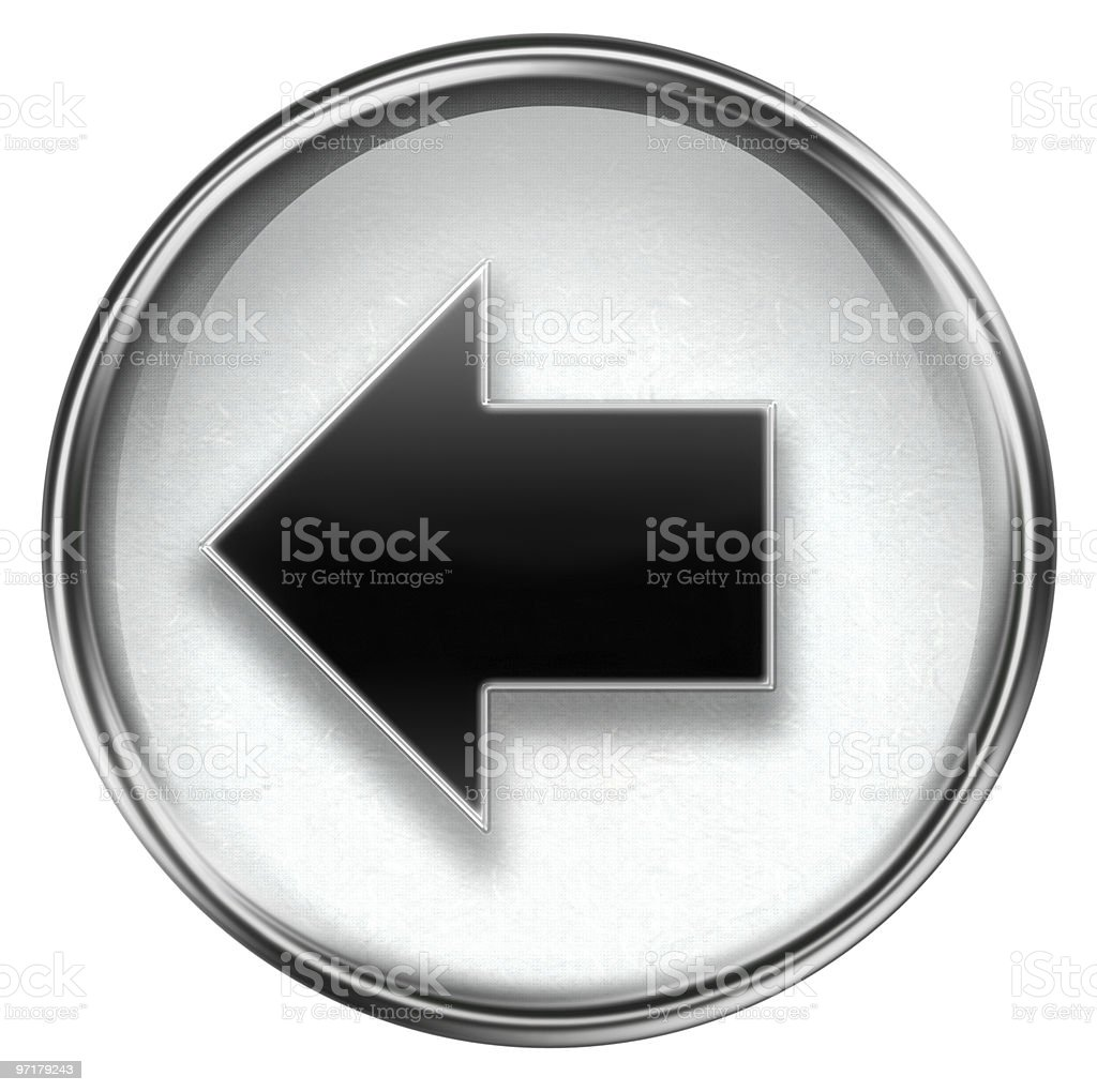 Arrow left icon grey royalty-free stock vector art