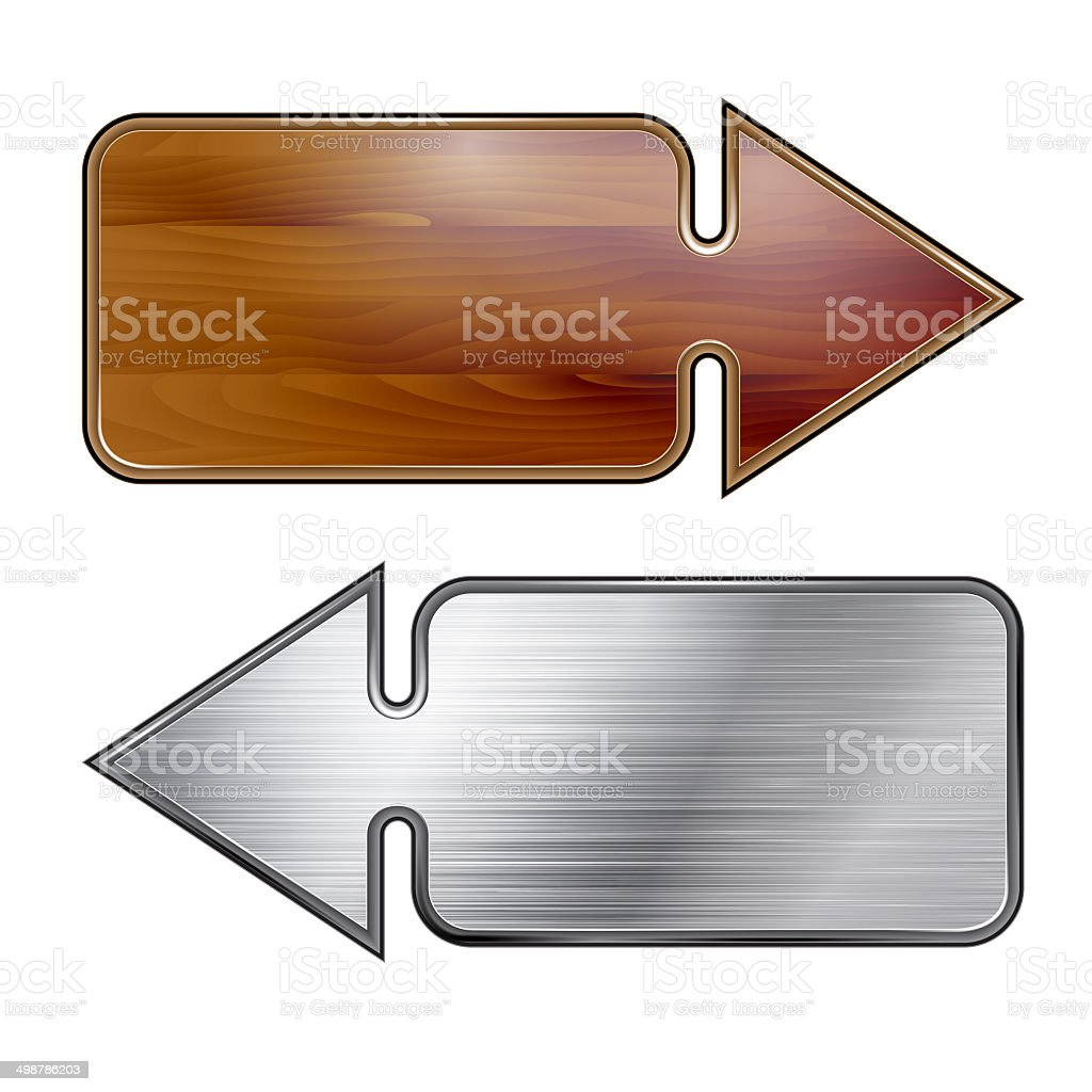 Arrow, wooden and metal structure vector art illustration