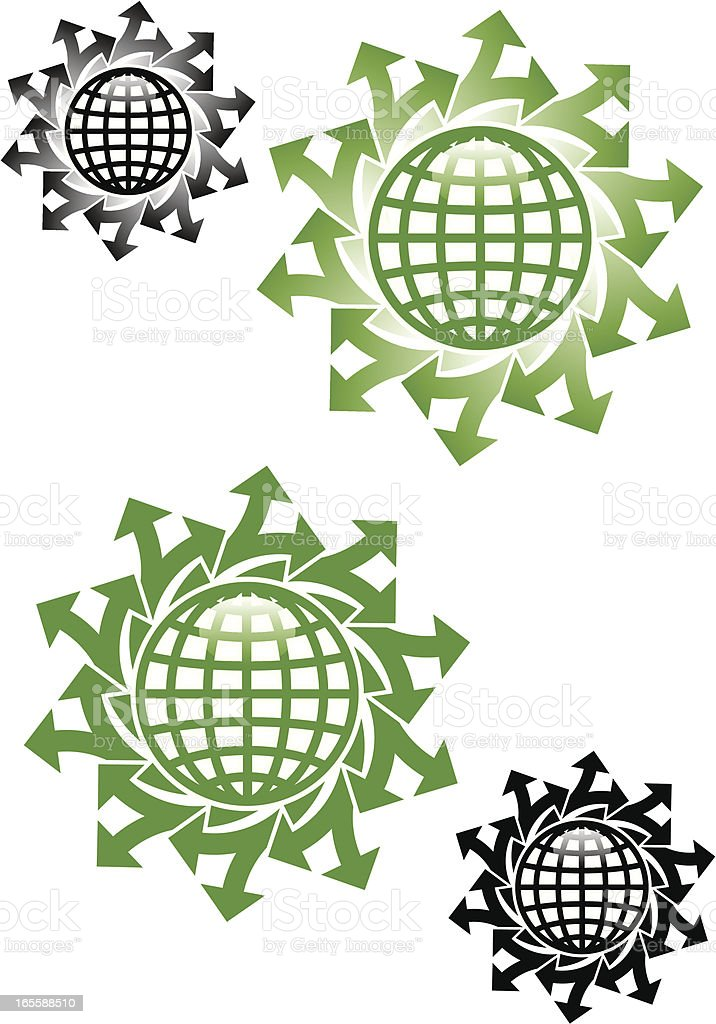 Arrows and globes vector art illustration
