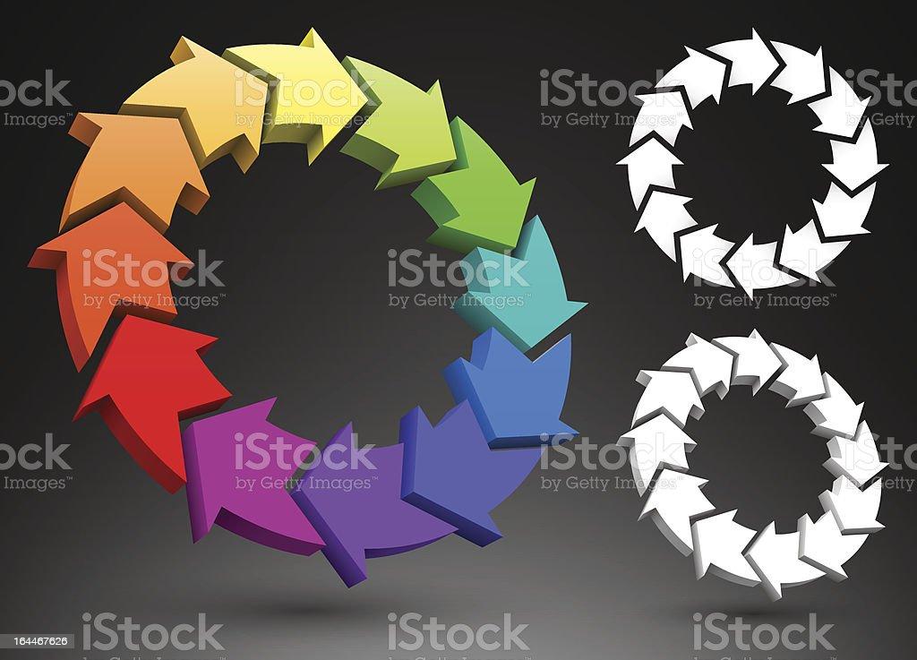 Arrows color wheel 3D royalty-free stock vector art
