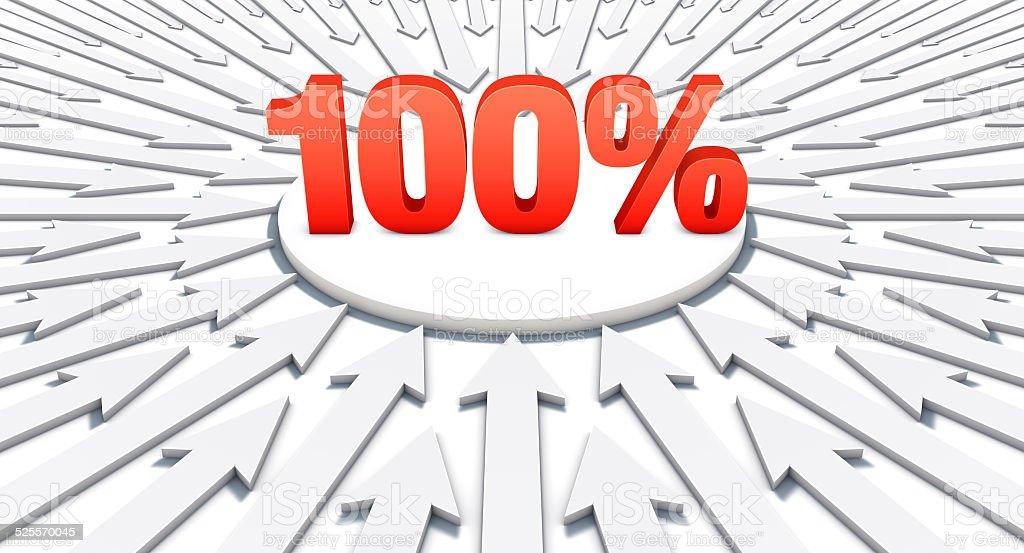 Setas apontando em uma palavra: 100% vetor e ilustração royalty-free royalty-free