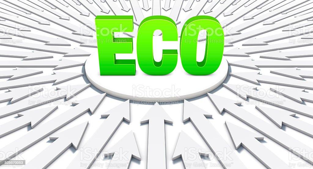 Setas apontando em uma palavra: Eco vetor e ilustração royalty-free royalty-free