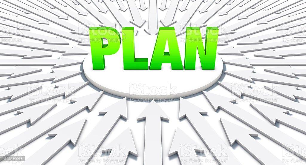 Setas apontando em uma palavra: Do plano vetor e ilustração royalty-free royalty-free
