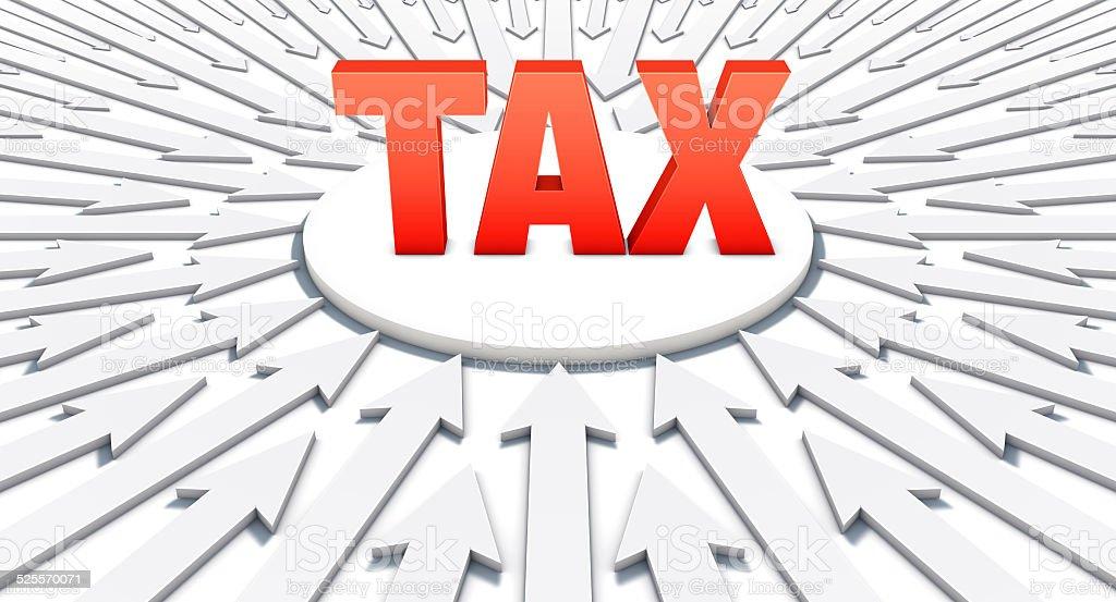 Setas apontando em uma palavra: Impostos vetor e ilustração royalty-free royalty-free