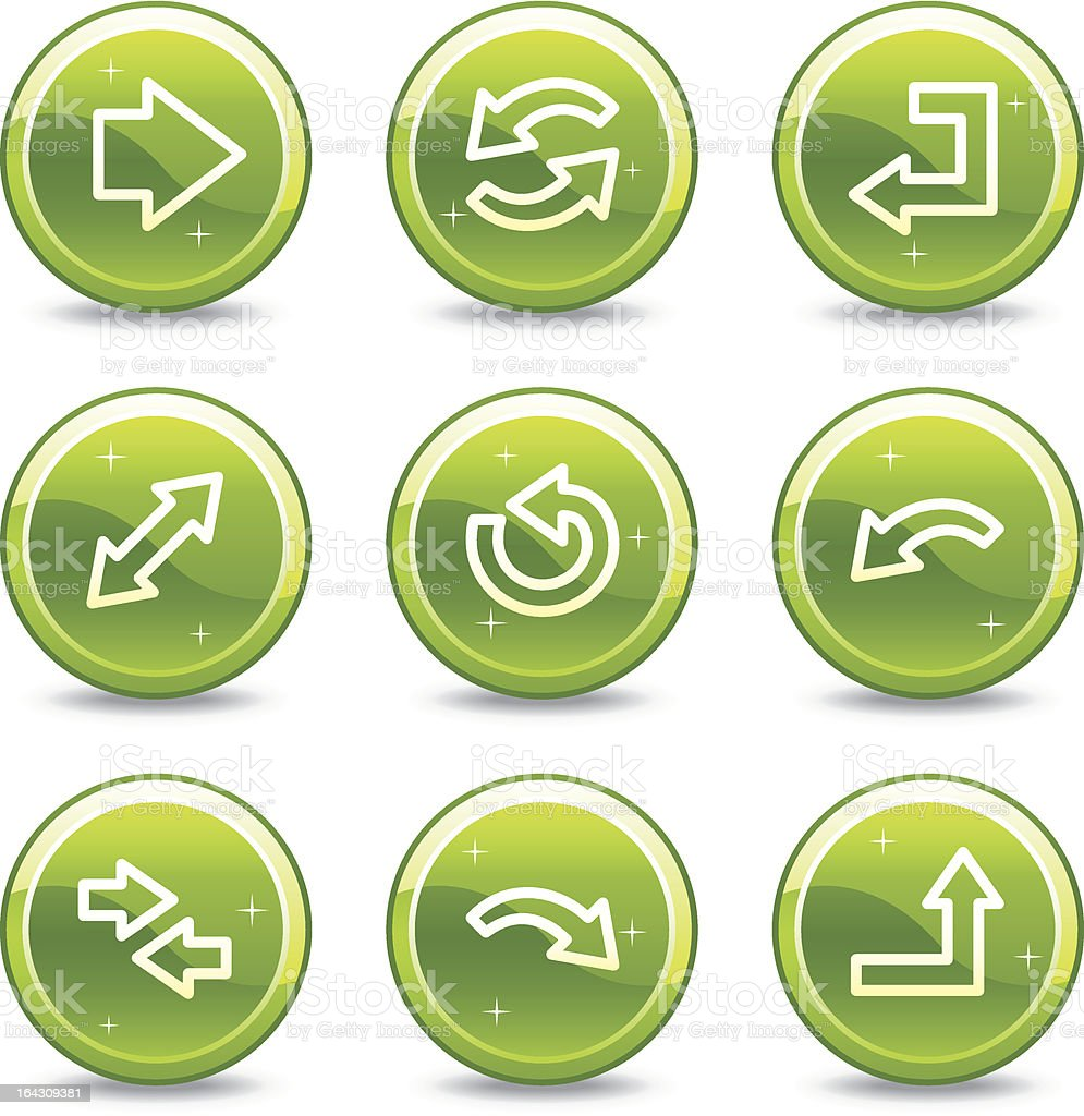 Arrows web icons, green glossy circle buttons series royalty-free stock vector art